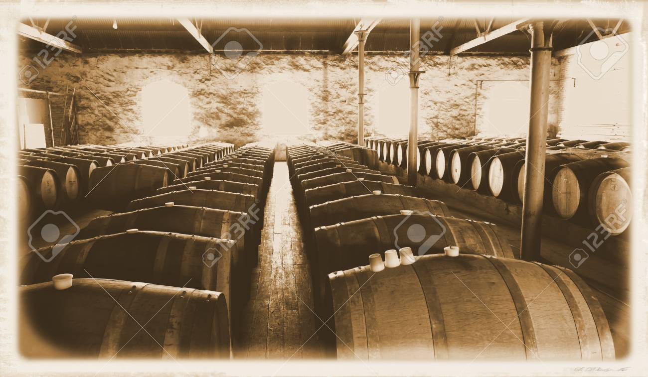 Storage oak wine barrels Rack Last Century Photo Of Historical Wine Barrels In Winery Storage Area Featuring Rows Of Oak Barrels Dissolve Last Century Photo Of Historical Wine Barrels In Winery Storage