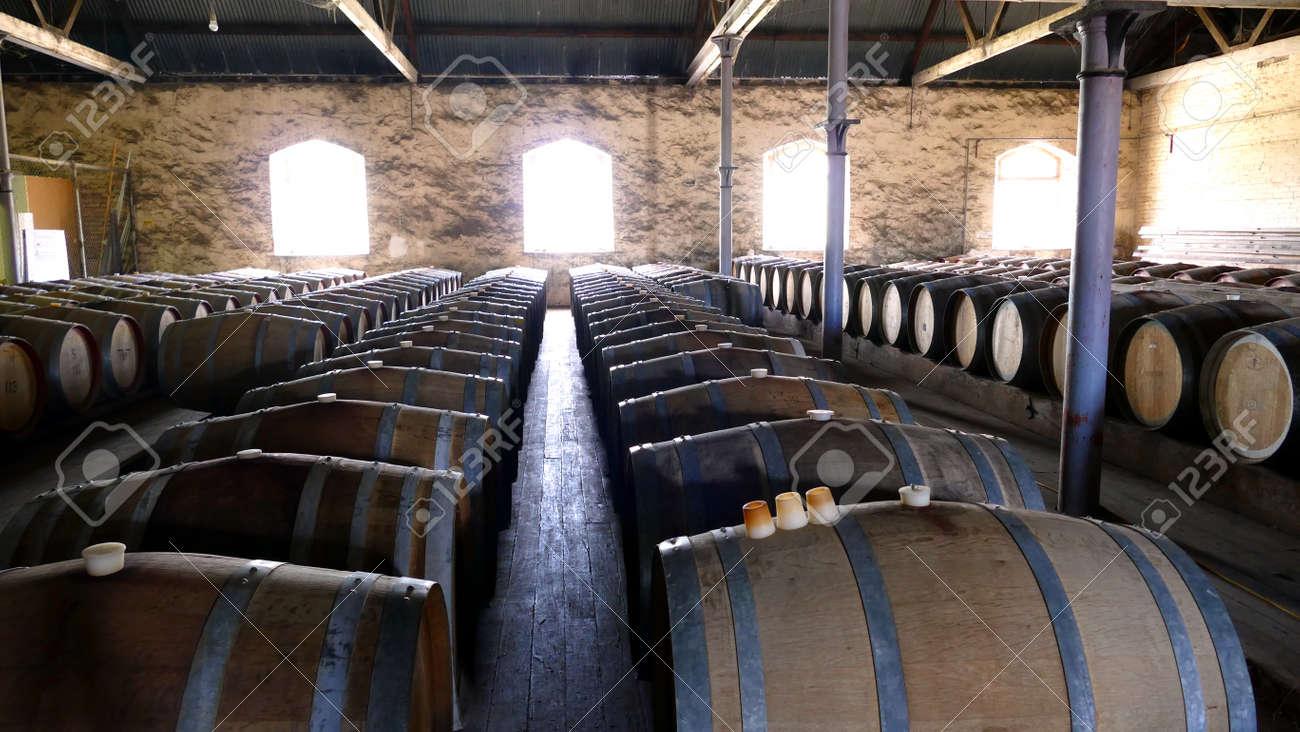 storage oak wine barrels. Photo Of Historical Wine Barrels In Winery Storage Area Featuring Rows Oak After Vintage