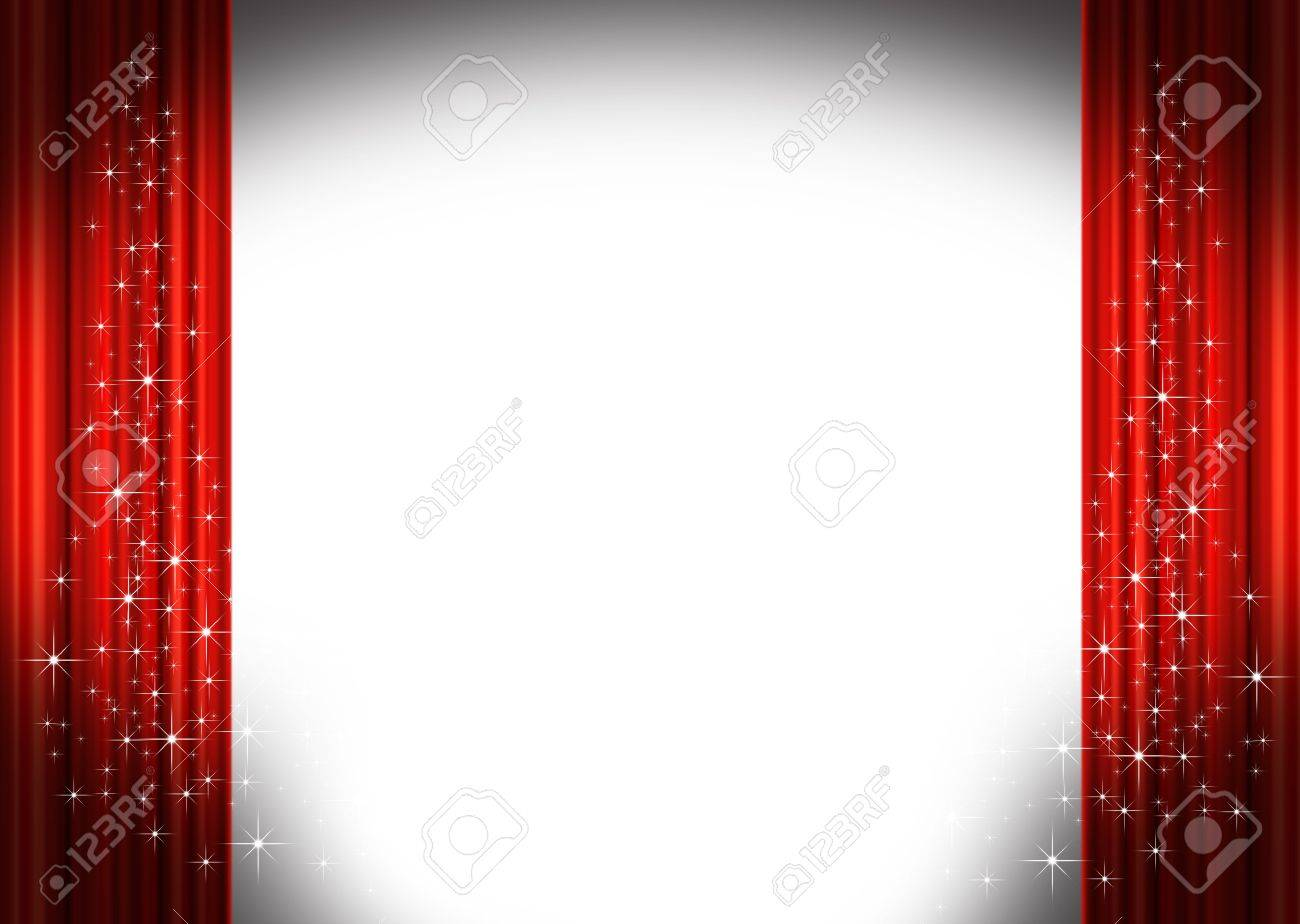 Red stage curtains - Red Stage Curtains Stock Photo 3760369