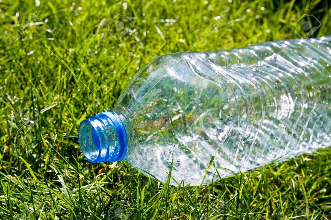 water bottle on grass Stock Photo - 9267159