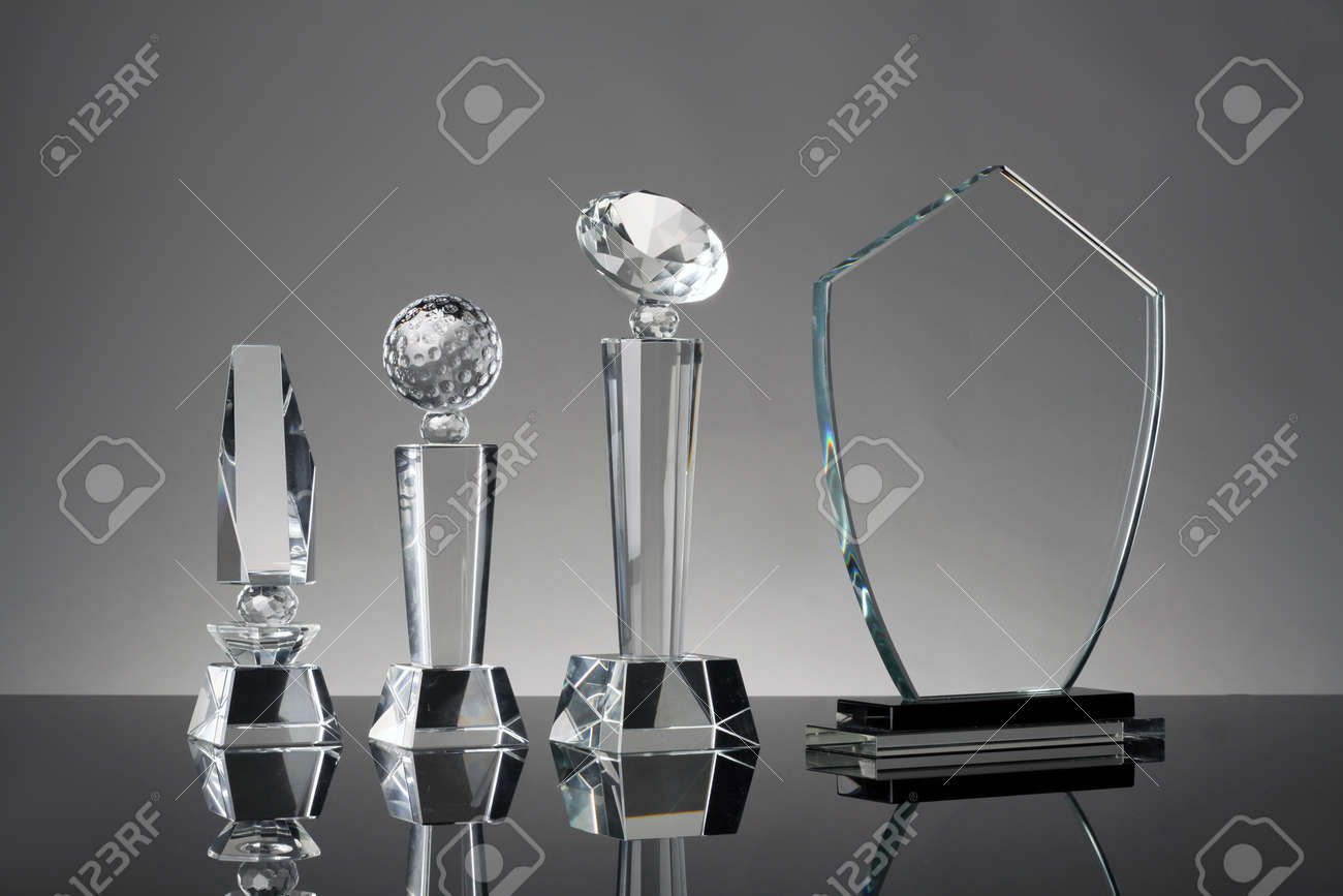 Glass Trophy In Gray Background Stock Photo Picture And Royalty