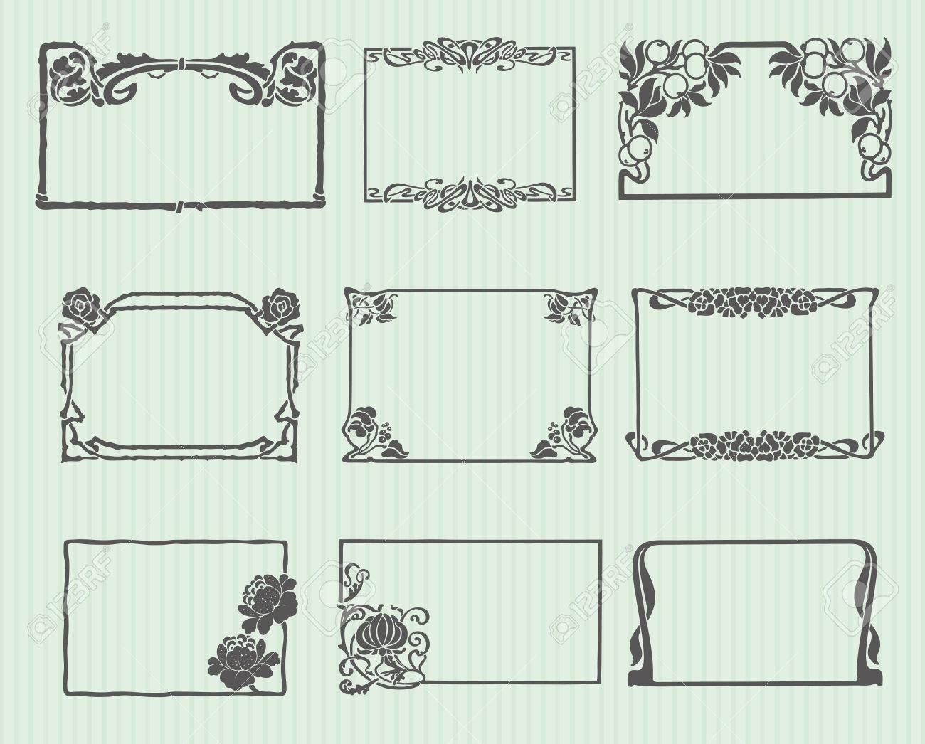 Art Nouveau Horizontal Frame Set Stock Vector - 8852824