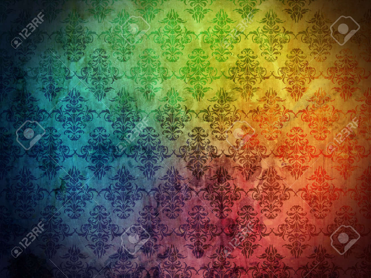 Damask wallpaper or background with grunge and floral ornaments Stock Photo - 9234272