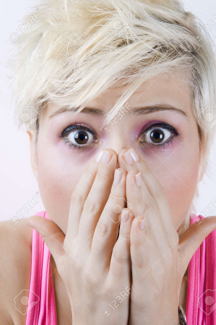 Close up portrait image of a shocked blonde girl Stock Photo - 9410719