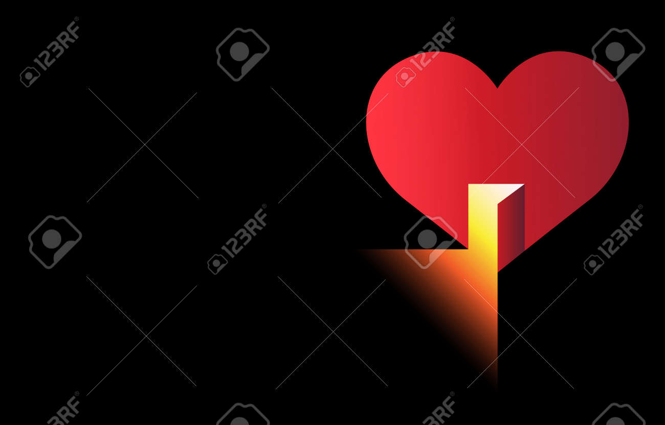 A simple yet strong illustration with a red heart with open door through which light comes out Stock Vector - 9720326