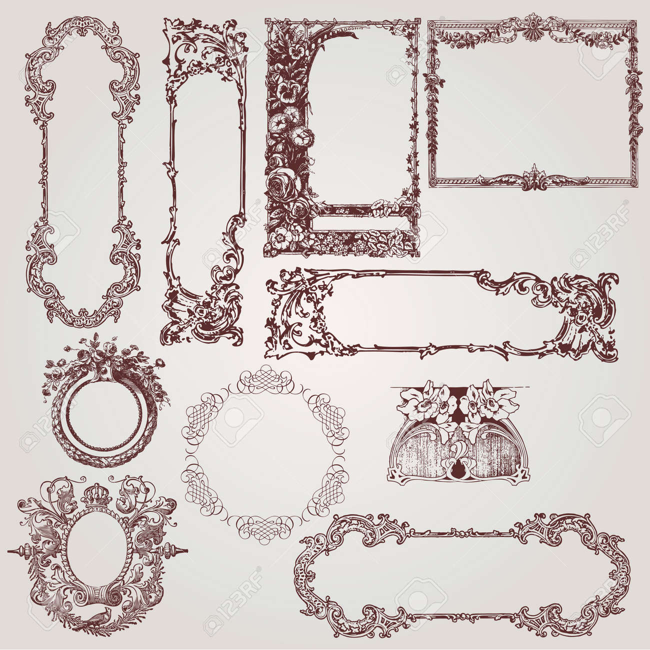 Una Colección De Hermosos Marcos Antiguos De Victorianos, Barrocos Y ...