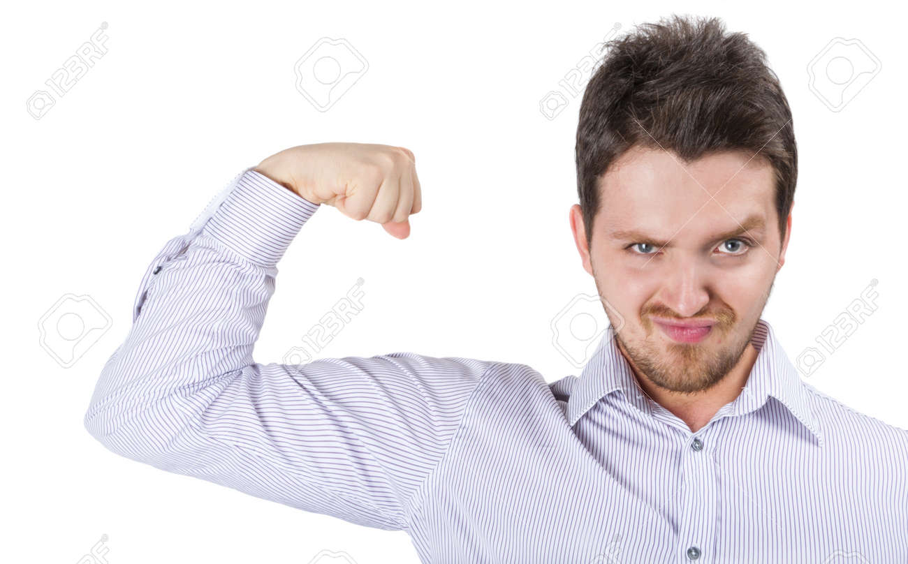 Young business man showing off success over white Stock Photo - 10141666