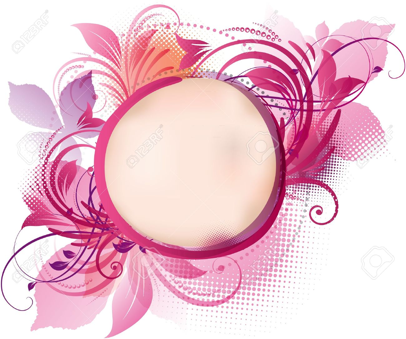 Vector round frame with pink flowers on white background in pastel - Pink Flowers Art Of A Pink Floral Background With Copy Space