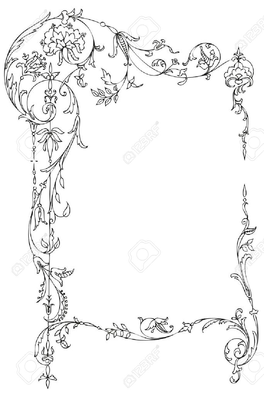 Classic floral frame with Victorian leaves and curls - 10336366