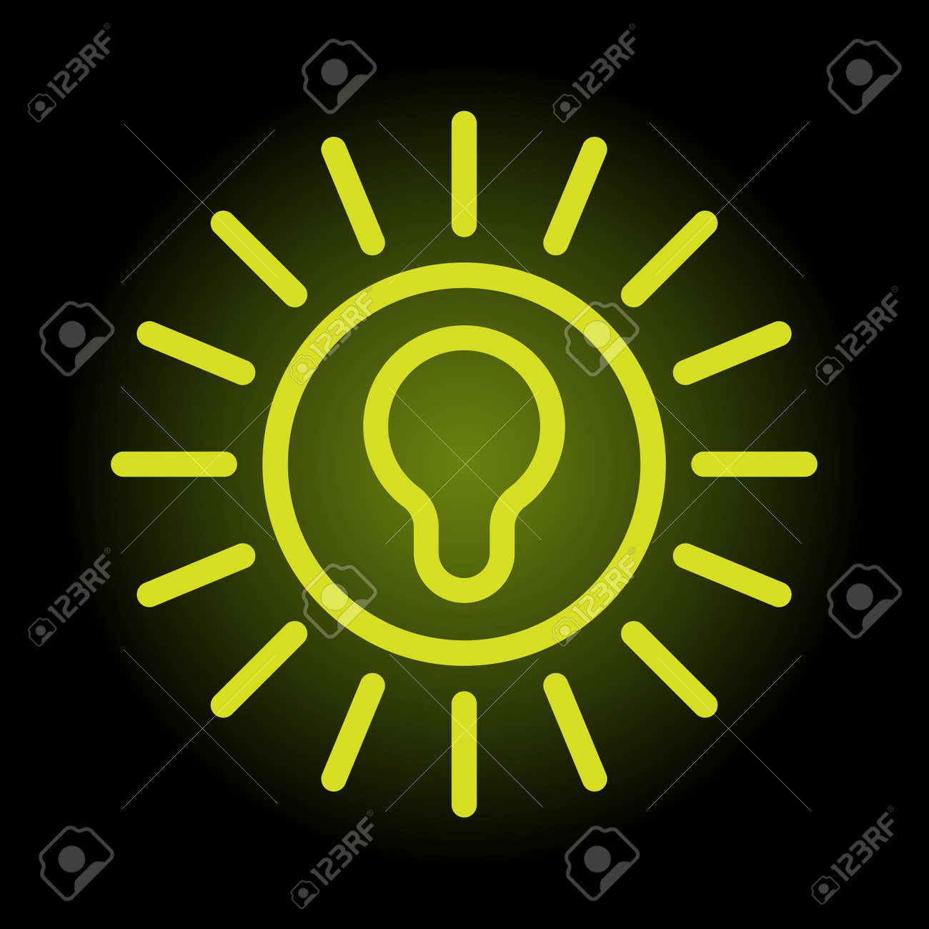 Simple and elegant green bulb icon on black enlightened background Stock Vector - 11079658