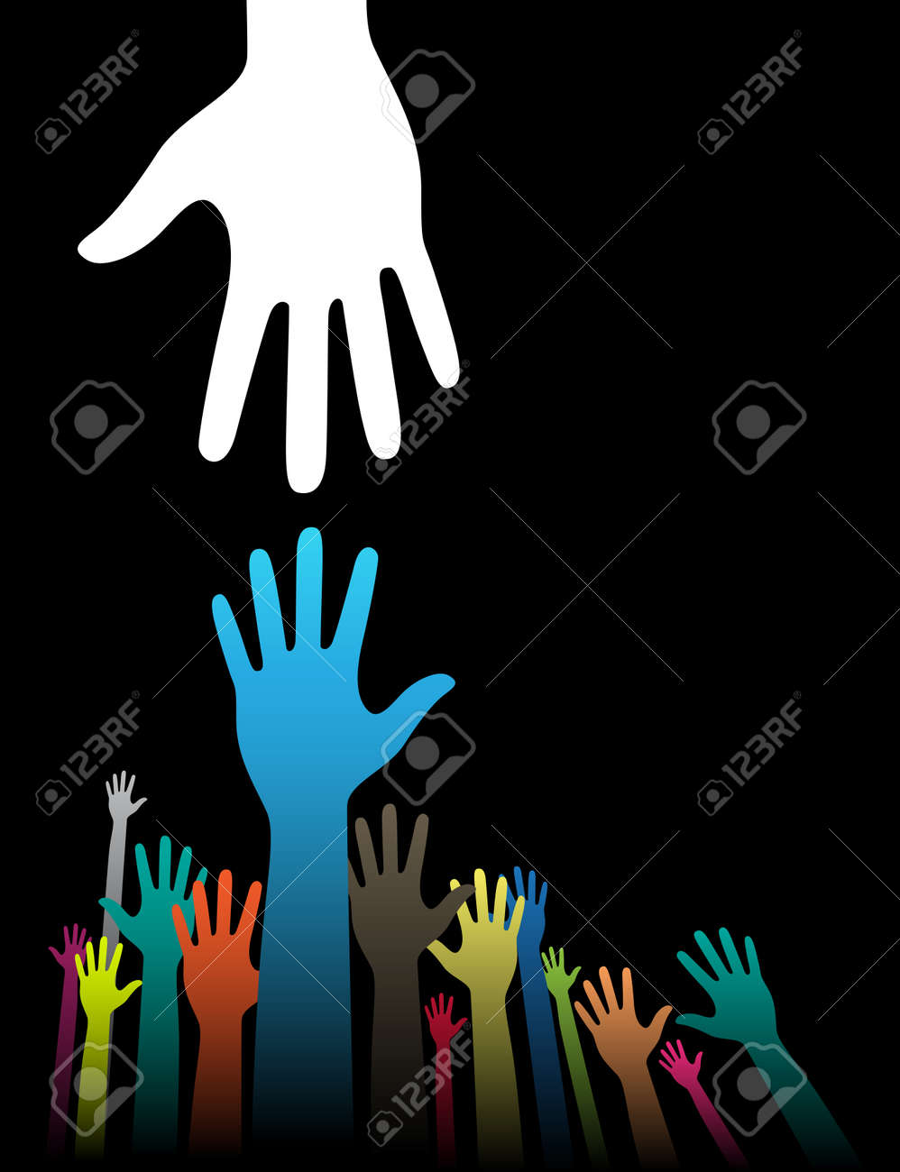 Vector background illustration with helping hand concept on black Stock Vector - 11196369