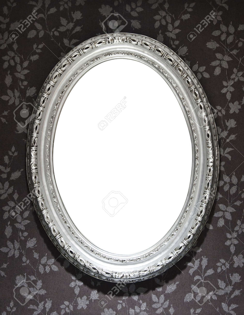 Blank Mirror Frame On A Wall Covered With Floral Wallpaper Clipping