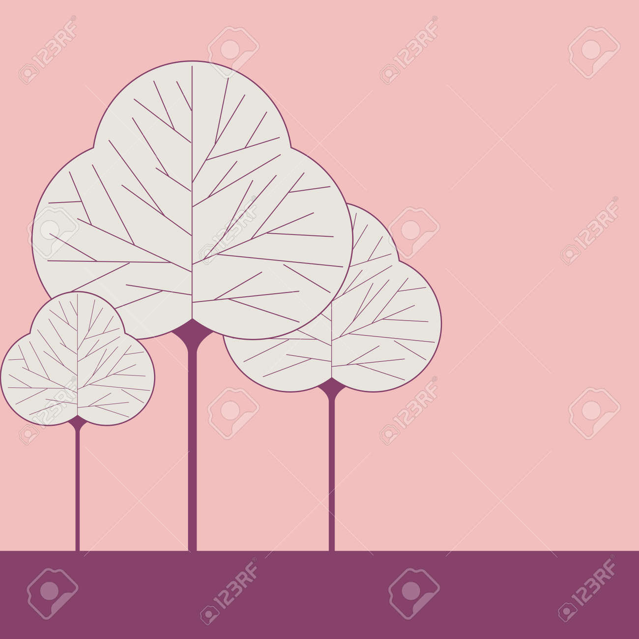 Three leaf shaped tree illustrations on a solid color background Stock Vector - 15050087