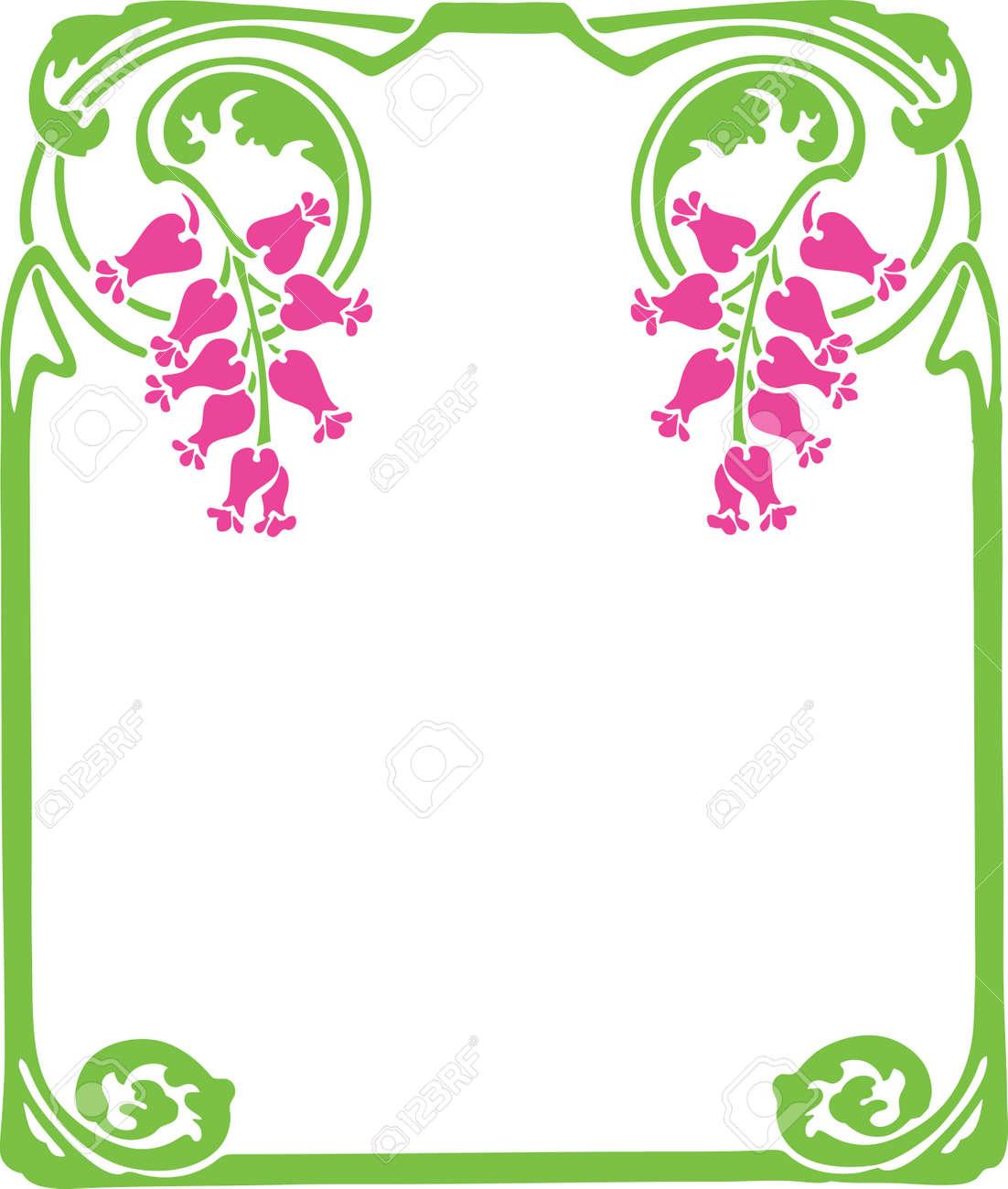 Beautiful decorative floral frame, art nouveau design element - 15859660