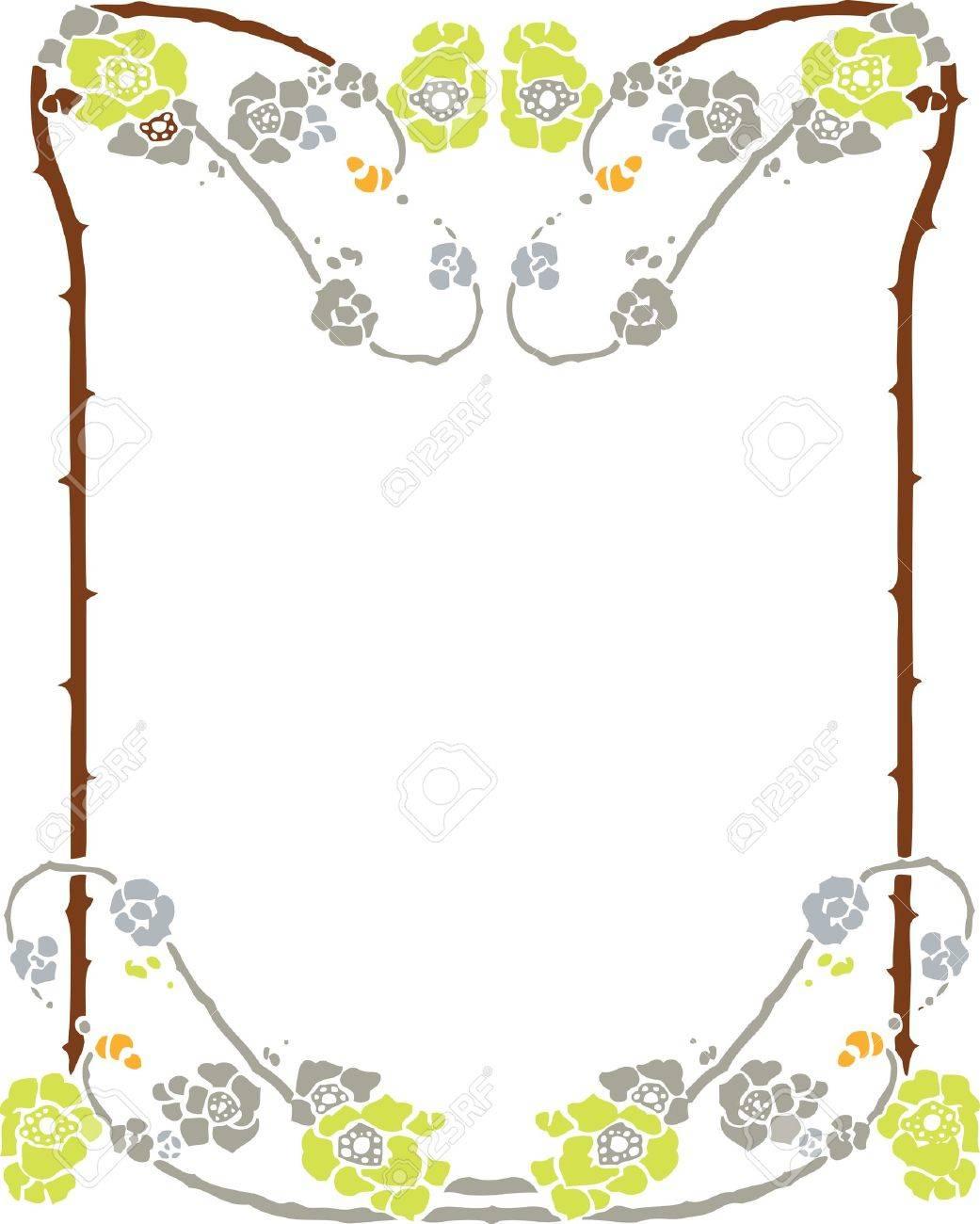 Beautiful decorative floral frame, art nouveau design element Stock Vector - 15859702