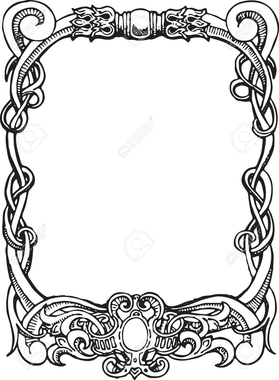 beautiful decorative floral frame art nouveau design element rh 123rf com art nouveau vector frame art nouveau victor horta