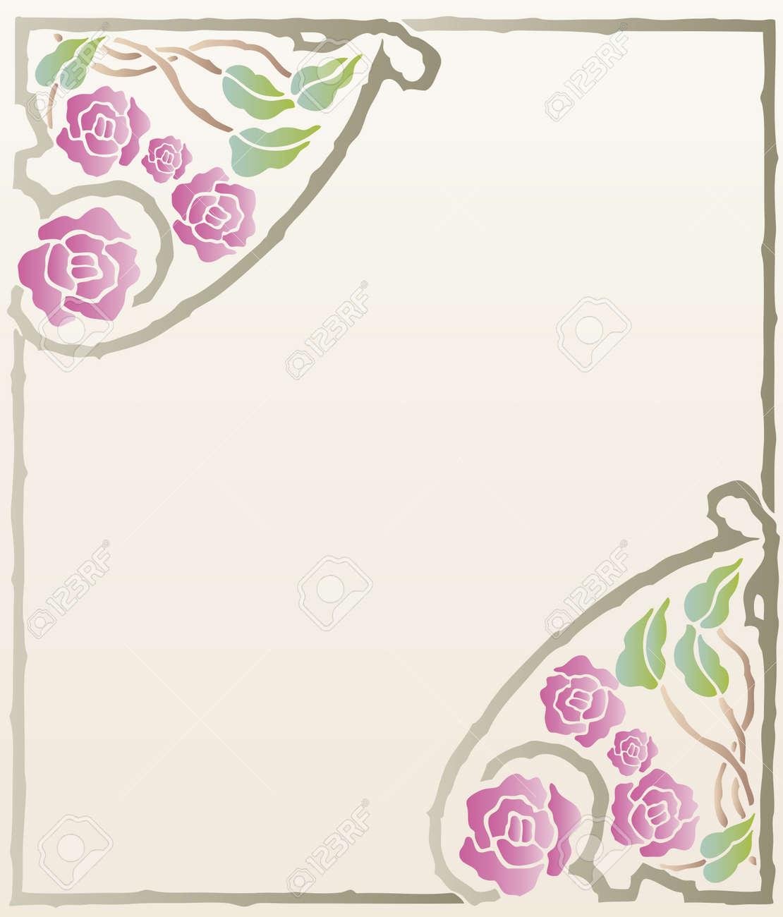 Beautiful decorative floral frame, art nouveau design element Stock Vector - 16104288