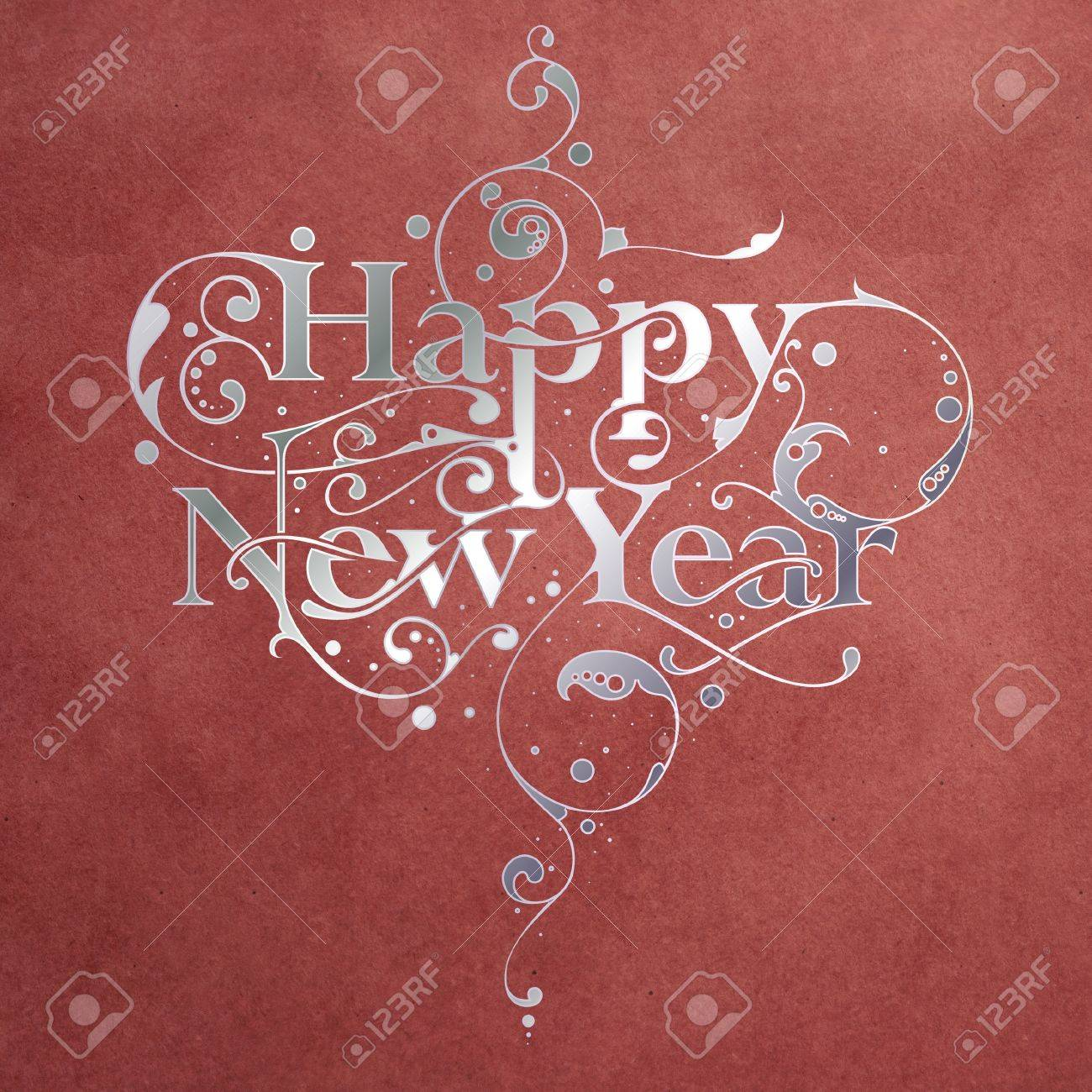 Beautiful hand-made ornamental typography Happy New Year on paper background Stock Photo - 16104298
