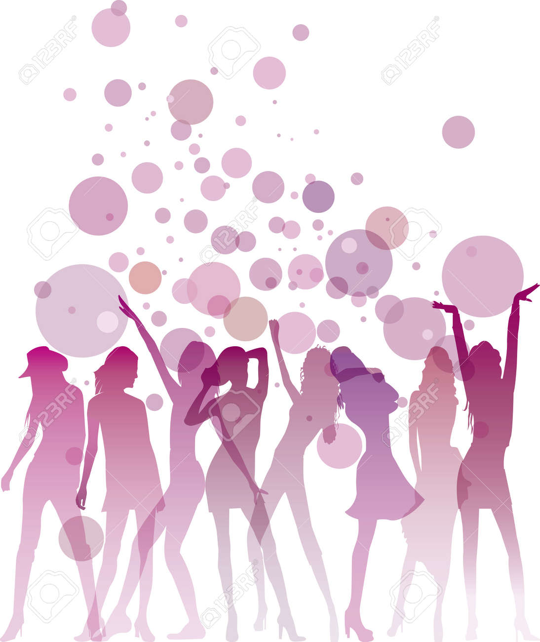 Dancing woman silhouettes with bubbles and copy space Stock Vector - 16229725