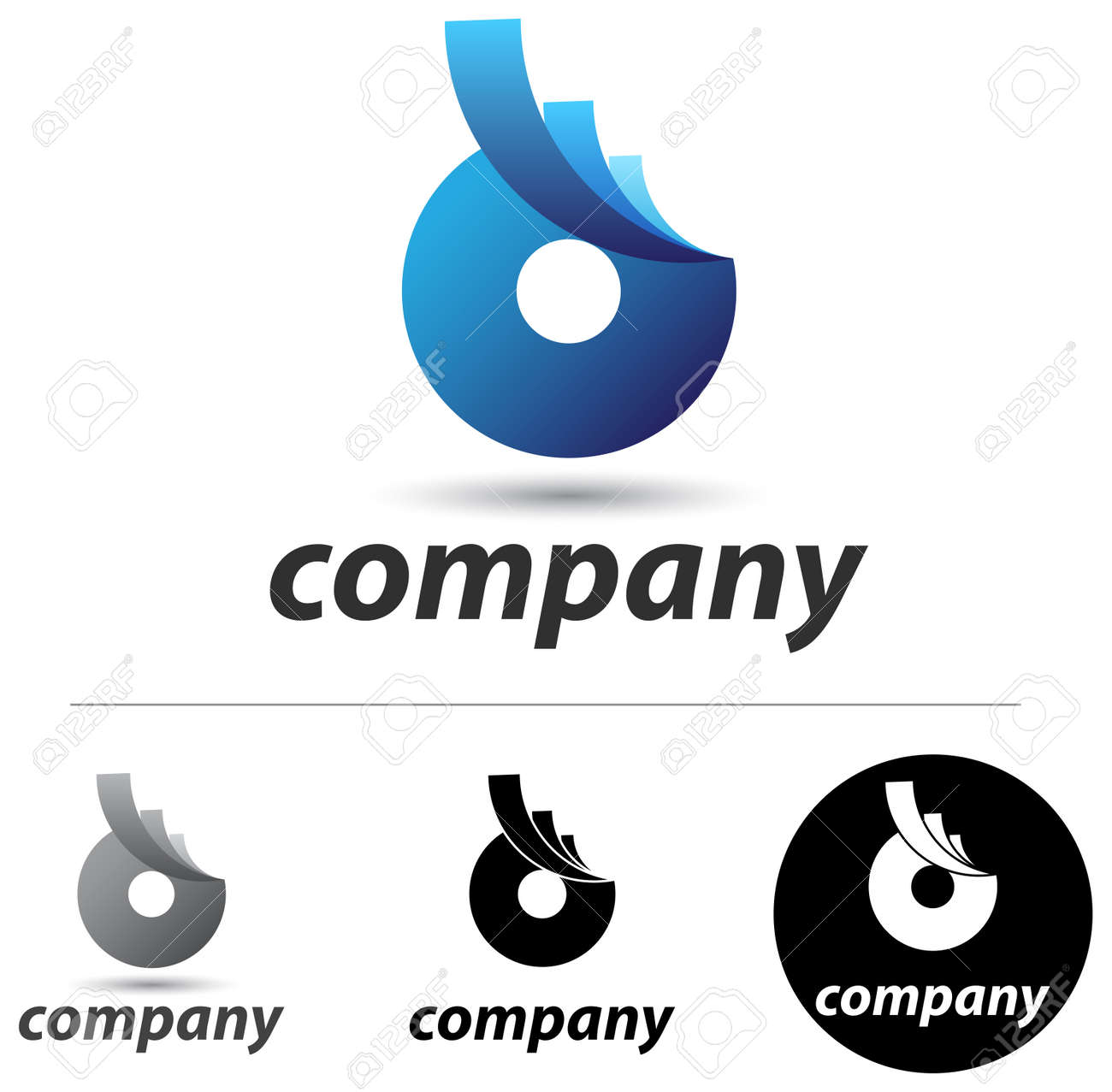 Corporate Logo Or Icon Design With An Abstract Blue Form Royalty ...