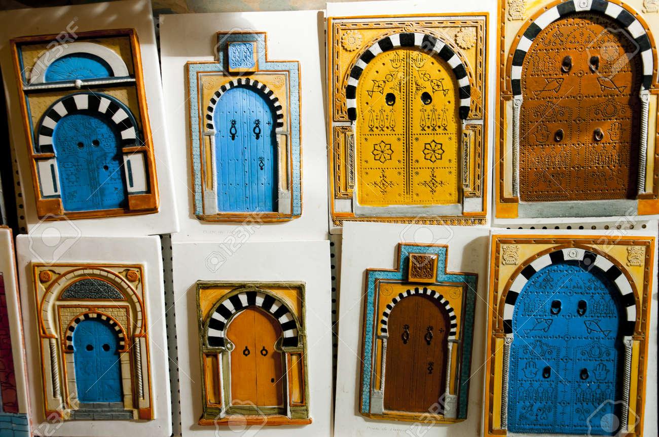 decorative figurines of colorful tunisian doors stock photo 17680516 - Decorative Doors