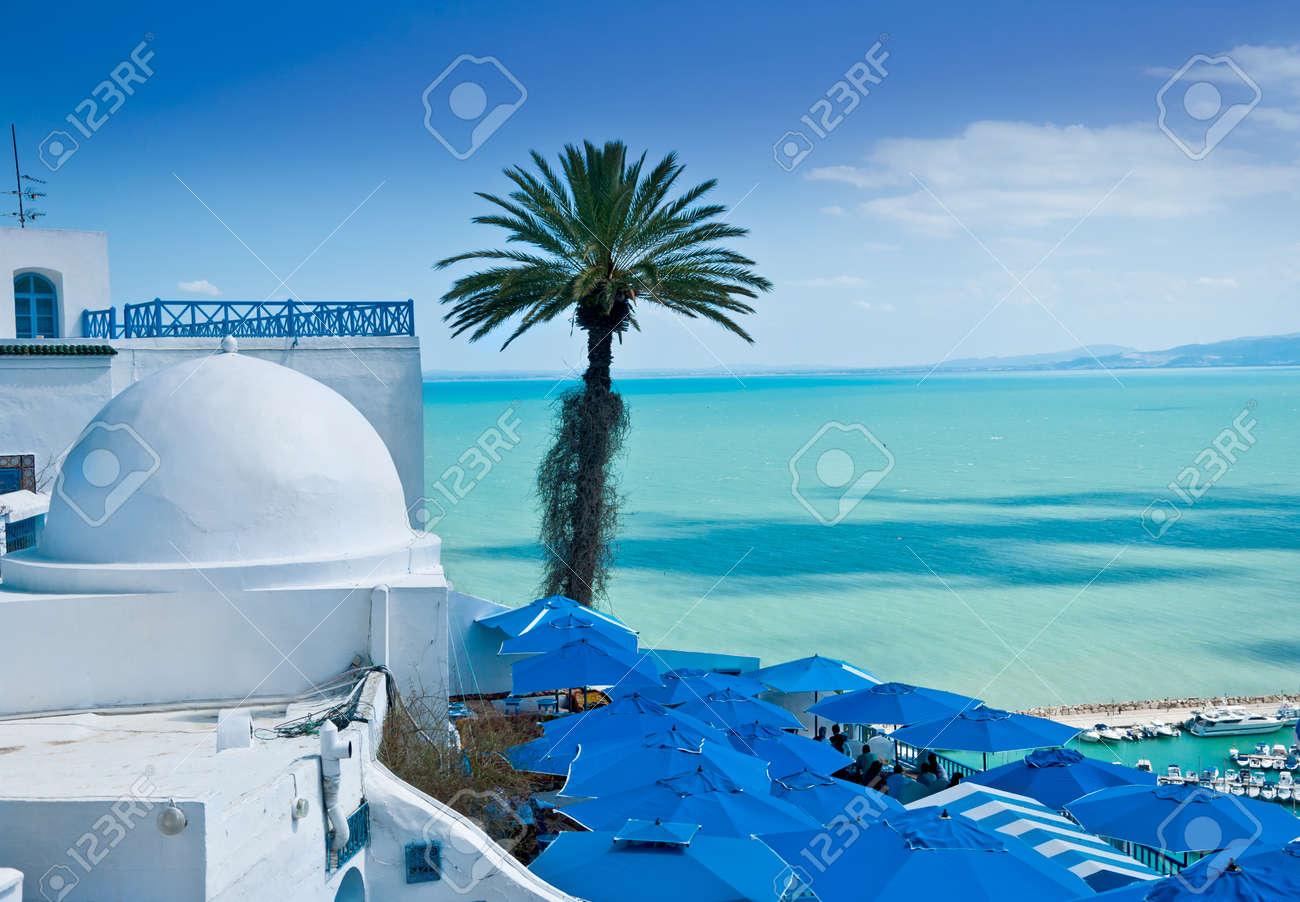 A view of Sidi Bou Said, traditional Tunisian architecture and the beautiful Mediterranean Sea Stock Photo - 17375421