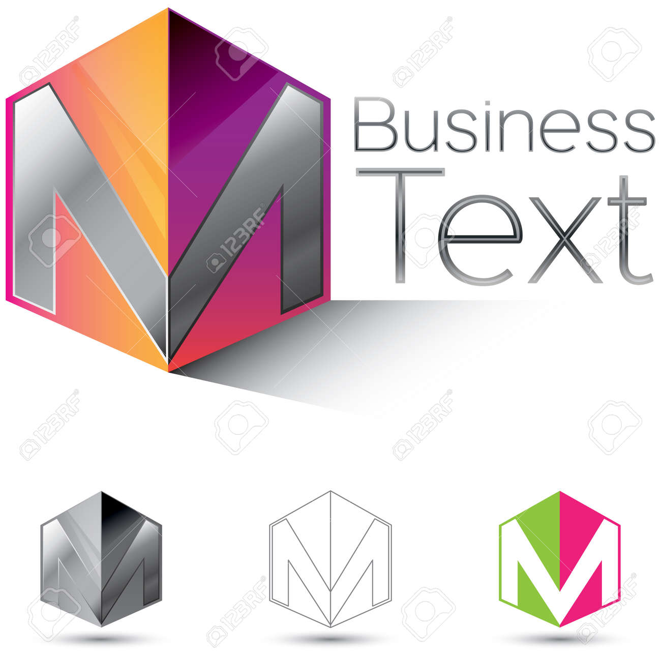 Attractive corporate identity design element with the letter M in  glossy 3d box Stock Vector - 20479479