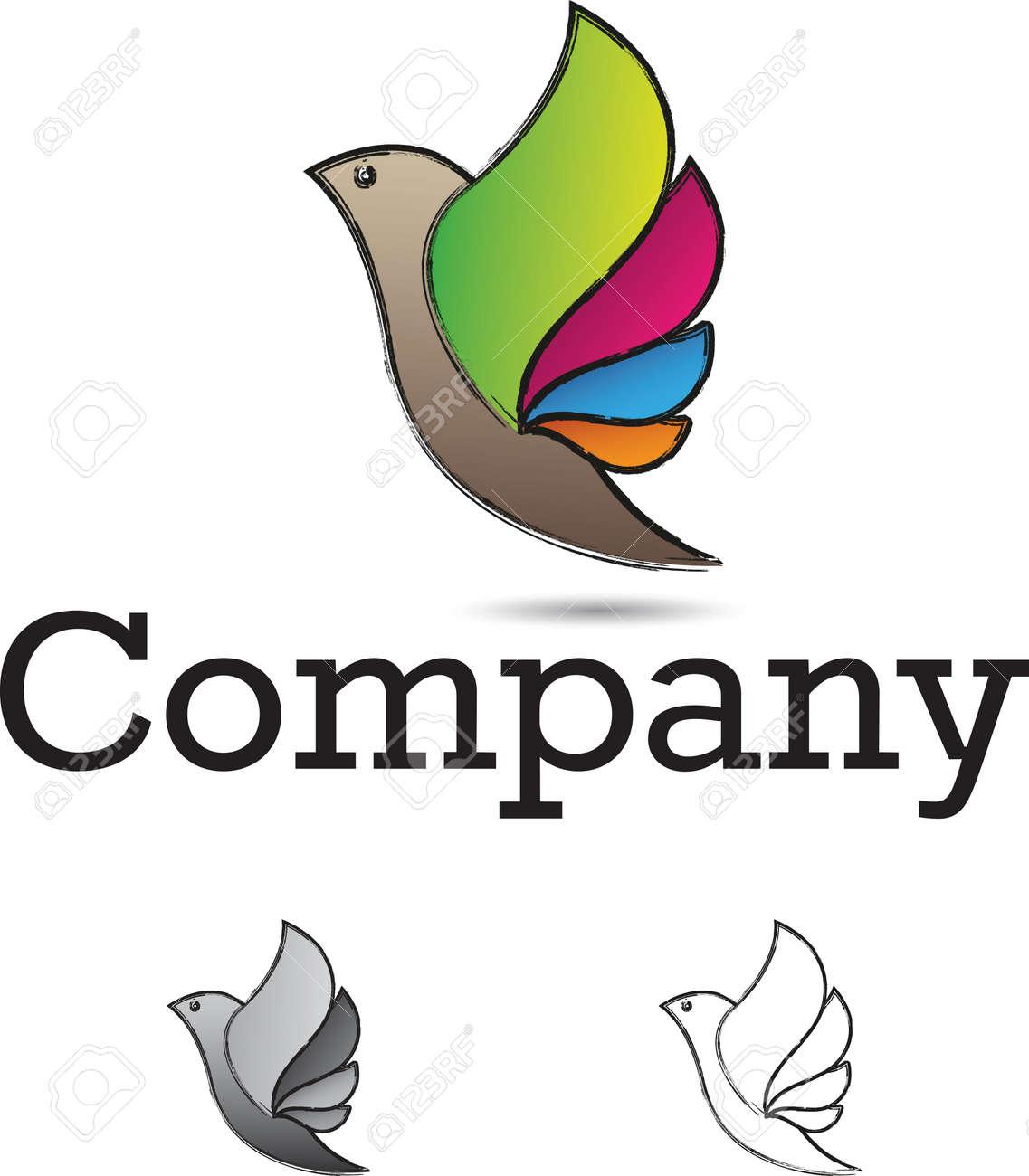 Colorful and stylized flying bird logo design element Stock Photo - 20880901