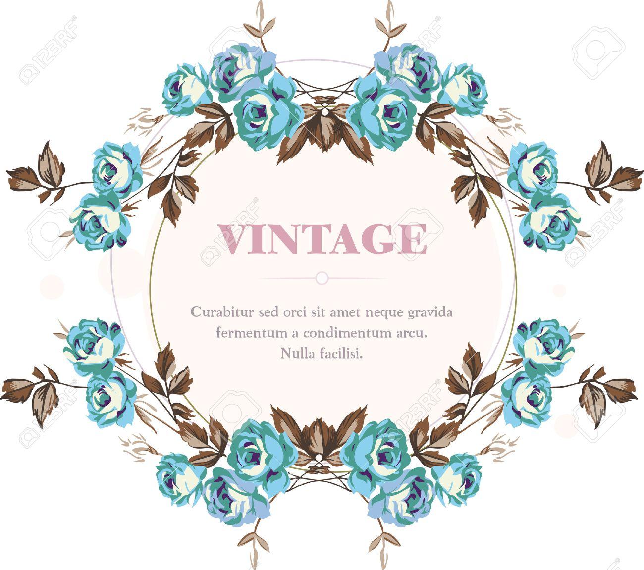 Vintage style shabby roses vector frame Stock Vector - 23394017