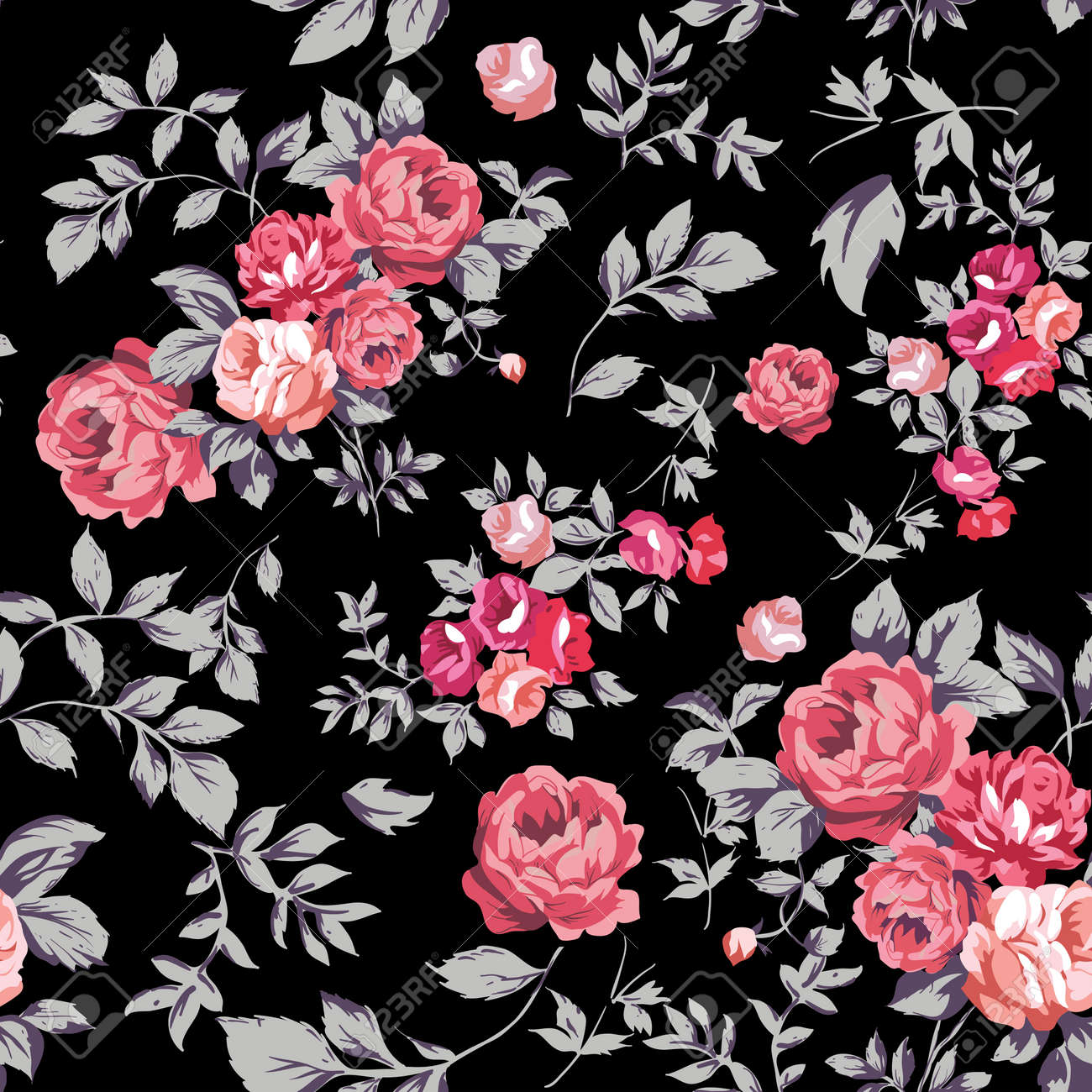 Decorative seamless pattern with beautiful shabby roses Stock Vector - 23864245