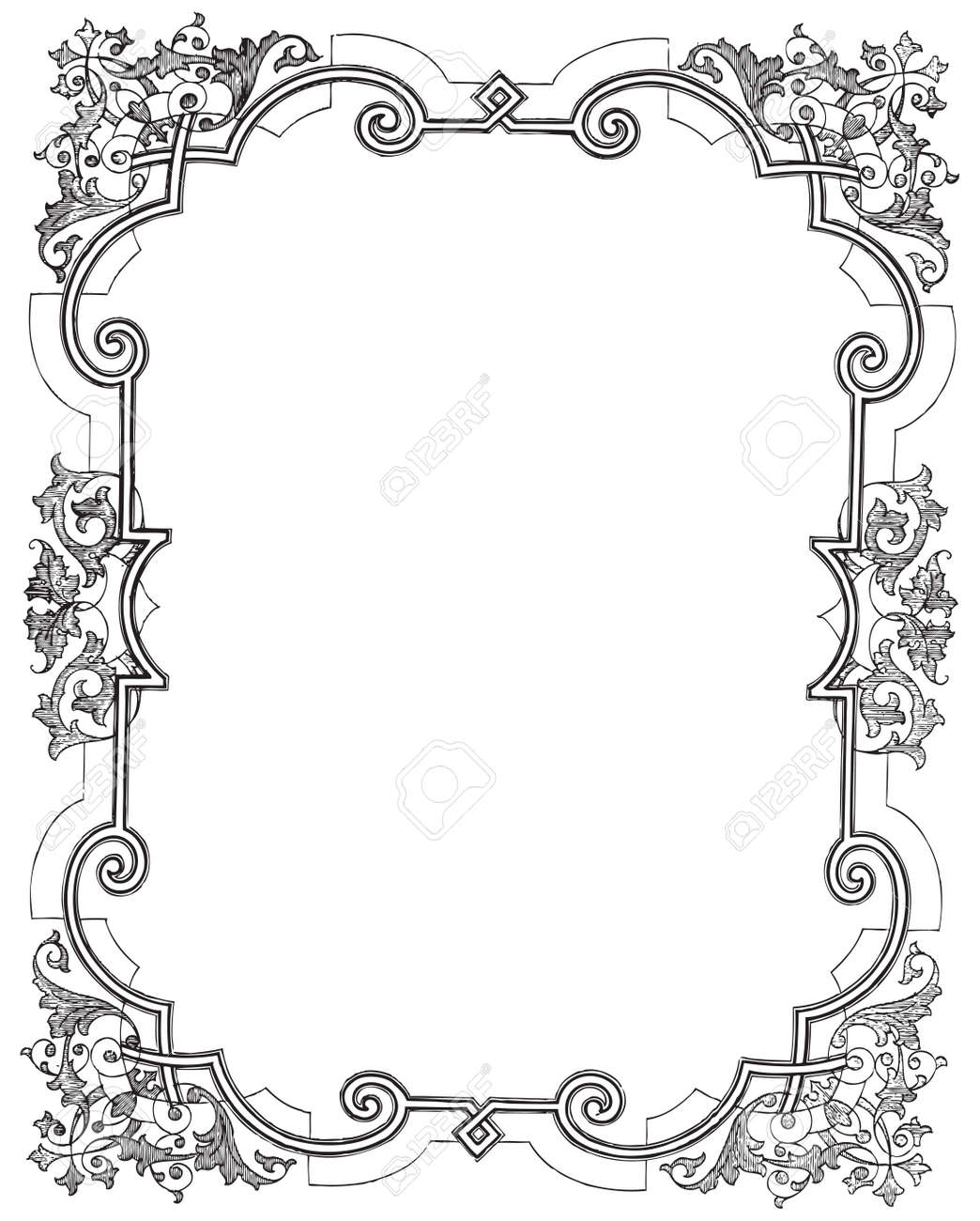 Ancient Style Engraving Of A Vintage Frame With Floral Decorations ...