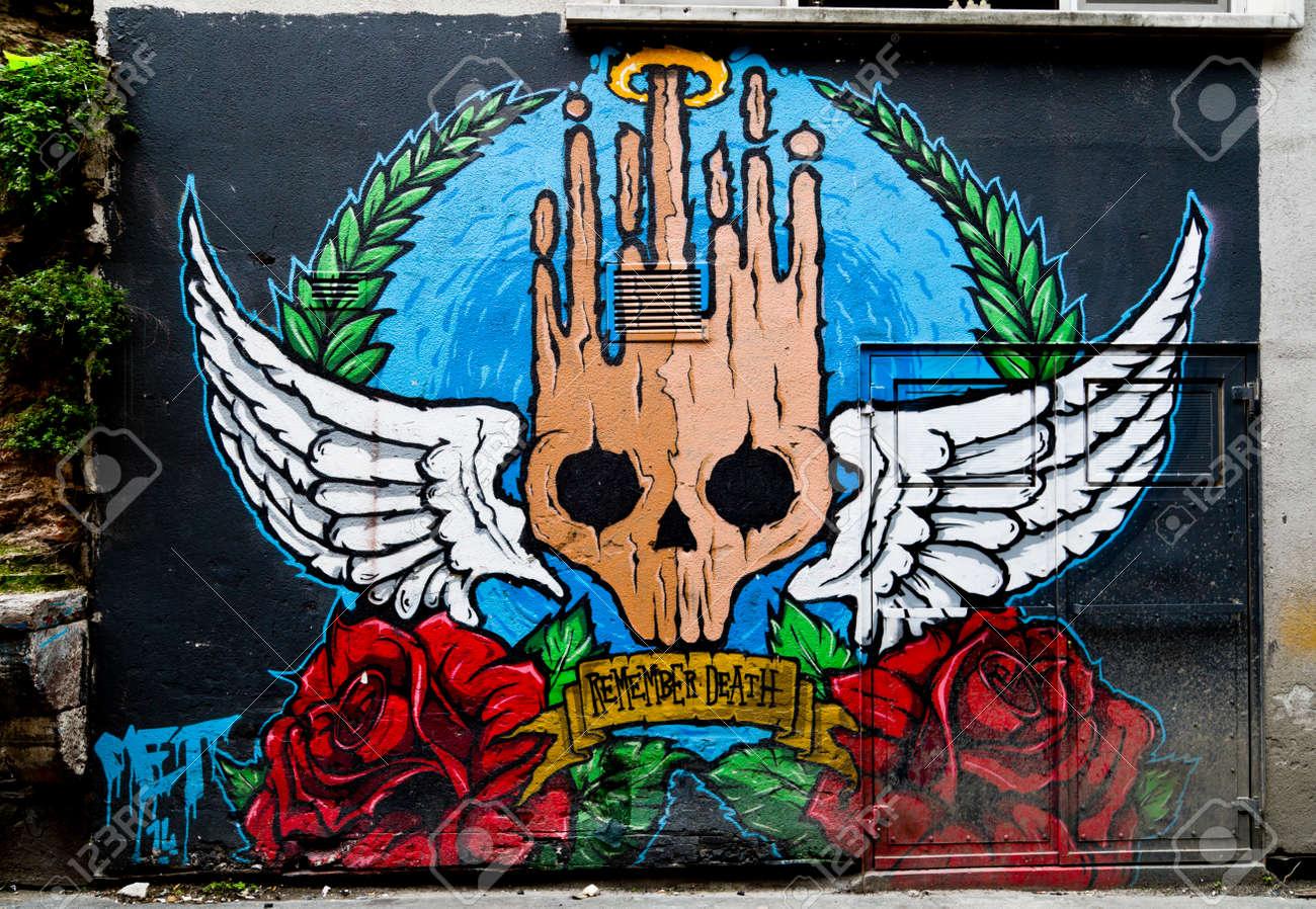 Stock photo urban mural art graffiti on the wall found in karakoy istanbul turkey