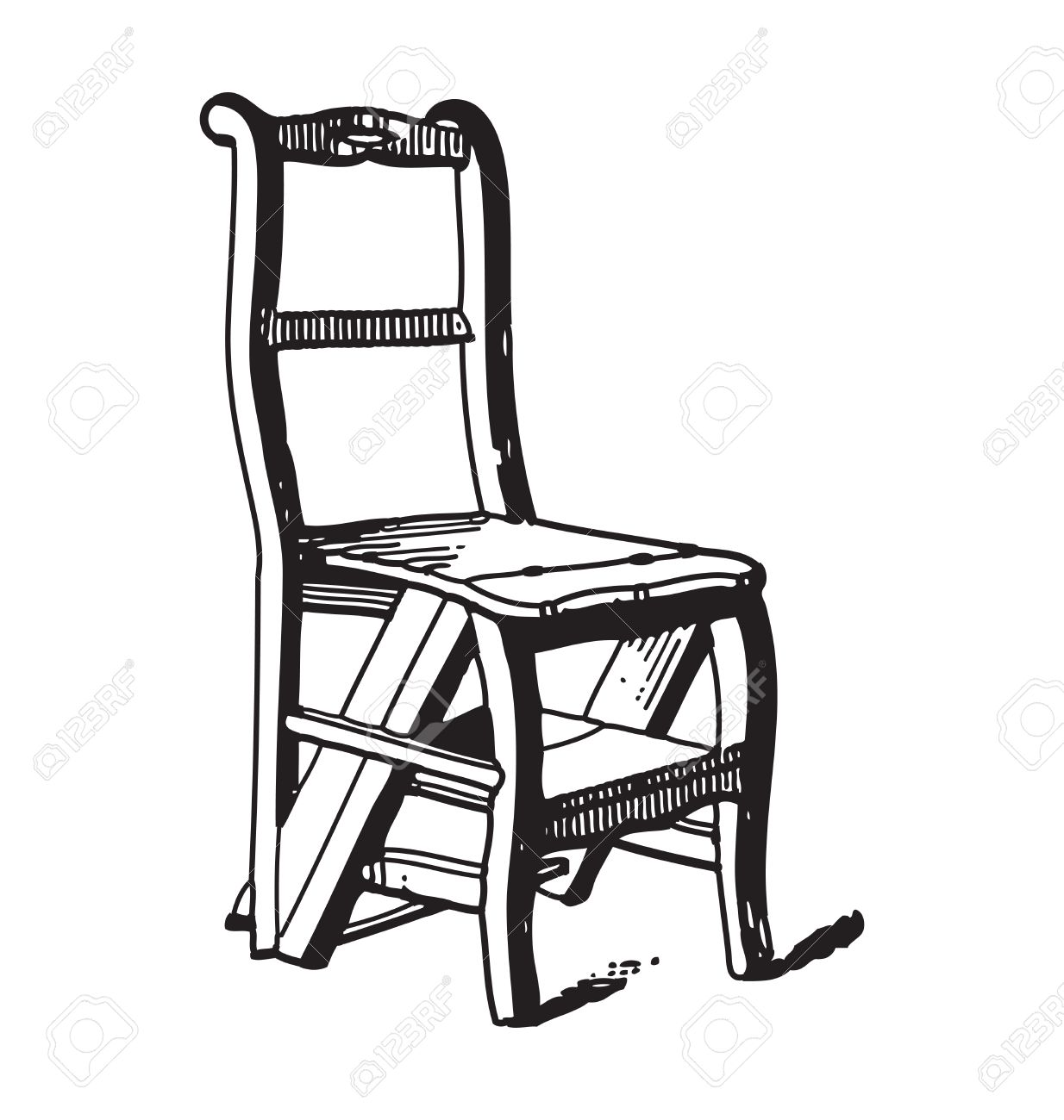 Antique Style Engraving Of Vintage Wooden Chair Royalty Free