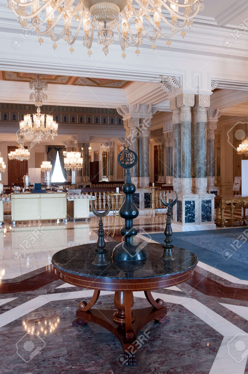 Interior View From The Ciragan Palace, Old Ottoman Royal Palace In  Istanbul, Turkey Stock