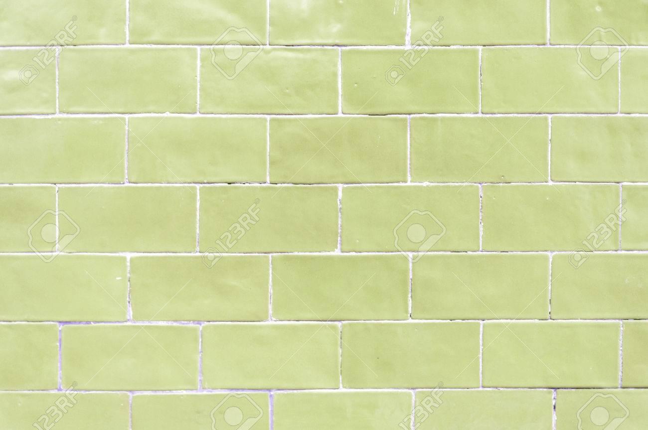Jaune Pastel Vert Colore Brique Mur Texture Fond Banque D
