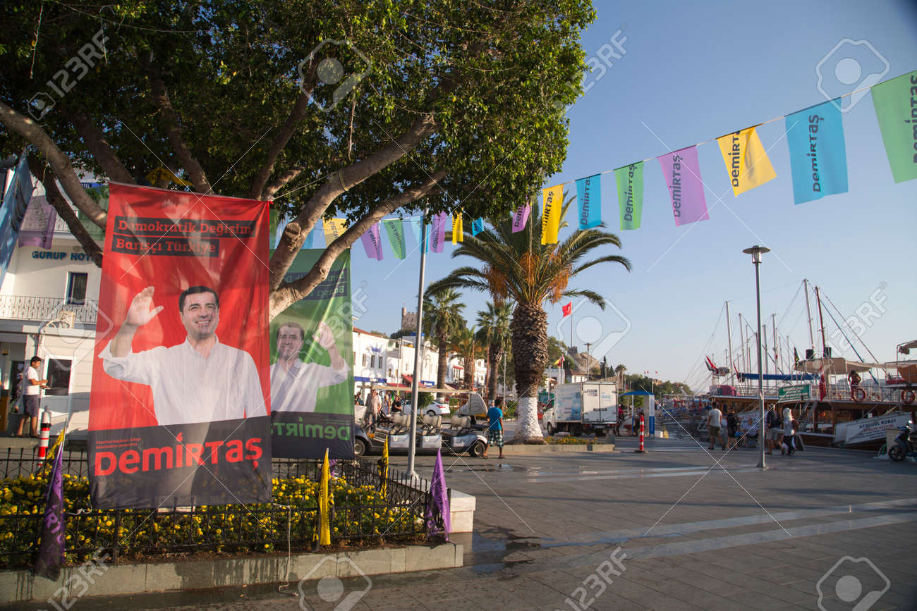 Bodrum, Turkey - October 2015: Flags and posters of HDP (Peoples