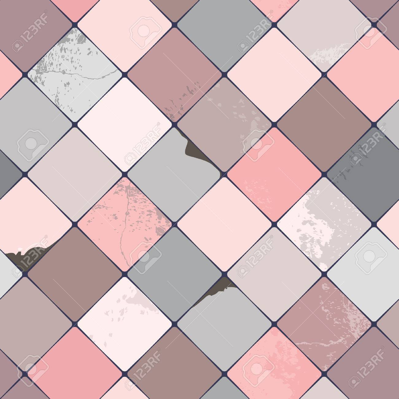 Seamless Vector Pattern With Shabby Chic, Realistic, Diamond ...