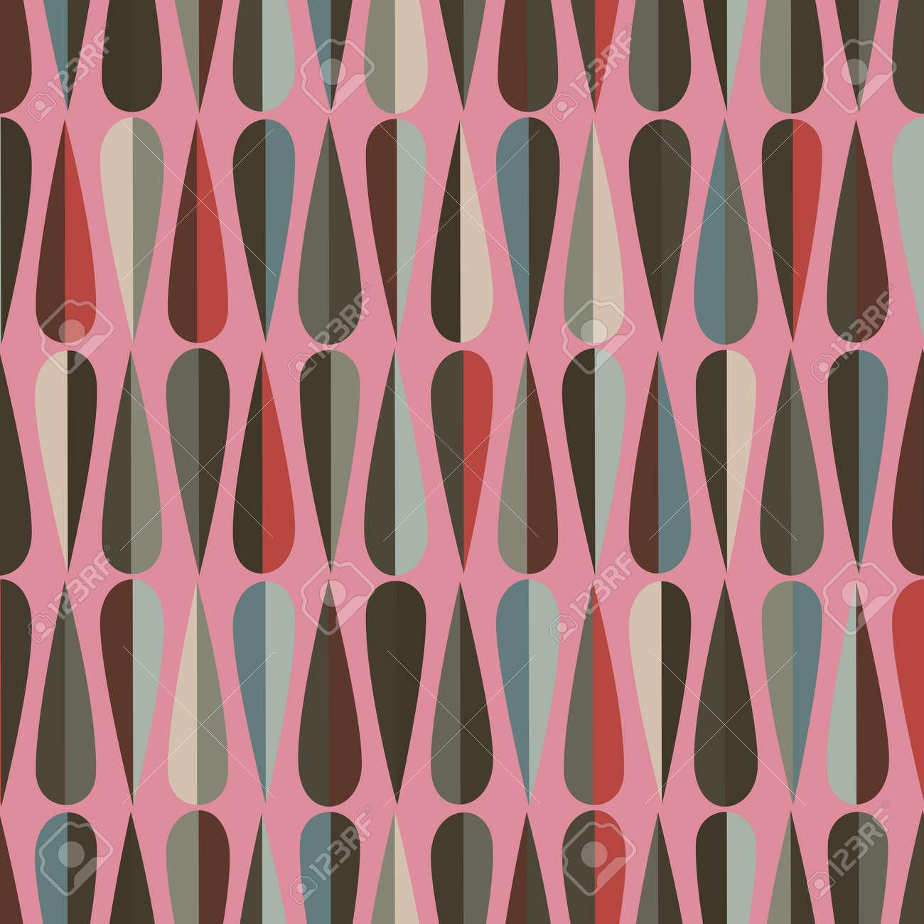Entzuckend Mitte Des Jahrhunderts Modernen Retro Stil Nahtlose Muster Mit  Tropfenformen In Verschiedenen Farbtönen, Abstrakten