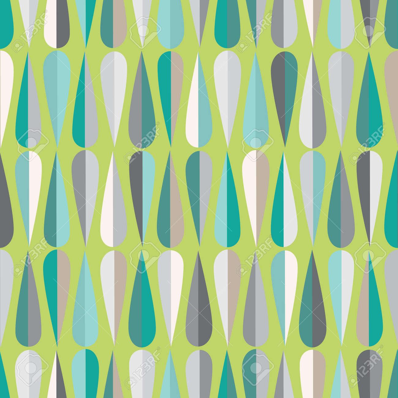 Wunderbar Mitte Des Jahrhunderts Modernen Retro Stil Nahtlose Muster Mit  Tropfenformen In Verschiedenen Farbtönen, Abstrakten