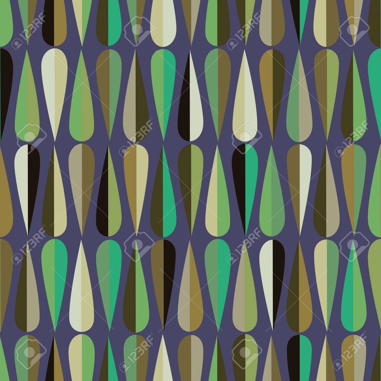 Mitte Des Jahrhunderts Modernen Retro Stil Nahtlose Muster Mit  Tropfenformen In Vaus Farbtöne, Abstrakten