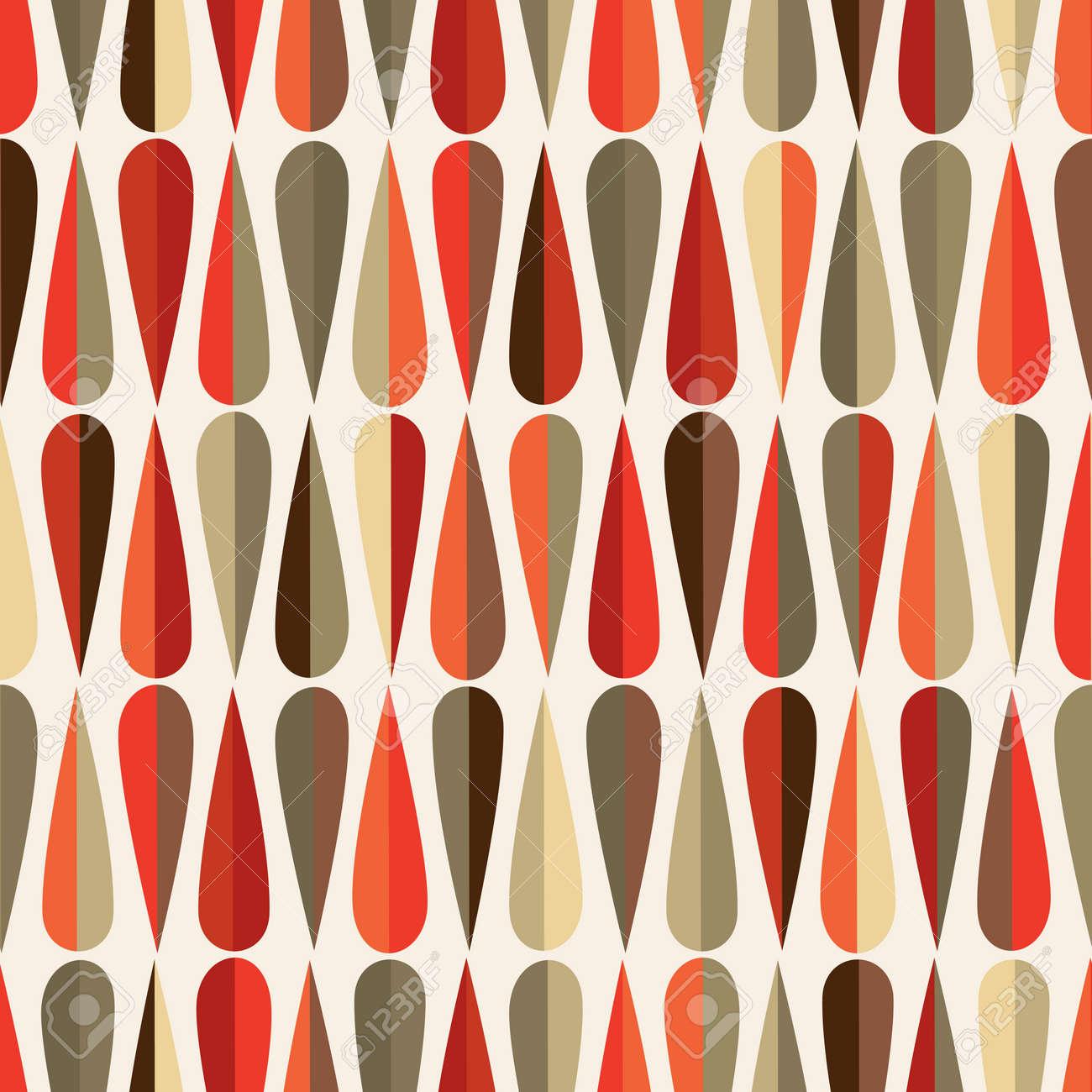 Mitte Des Jahrhunderts Modernen Retro Stil Nahtlose Muster Mit  Tropfenformen In Verschiedenen Farbtönen, Abstrakten