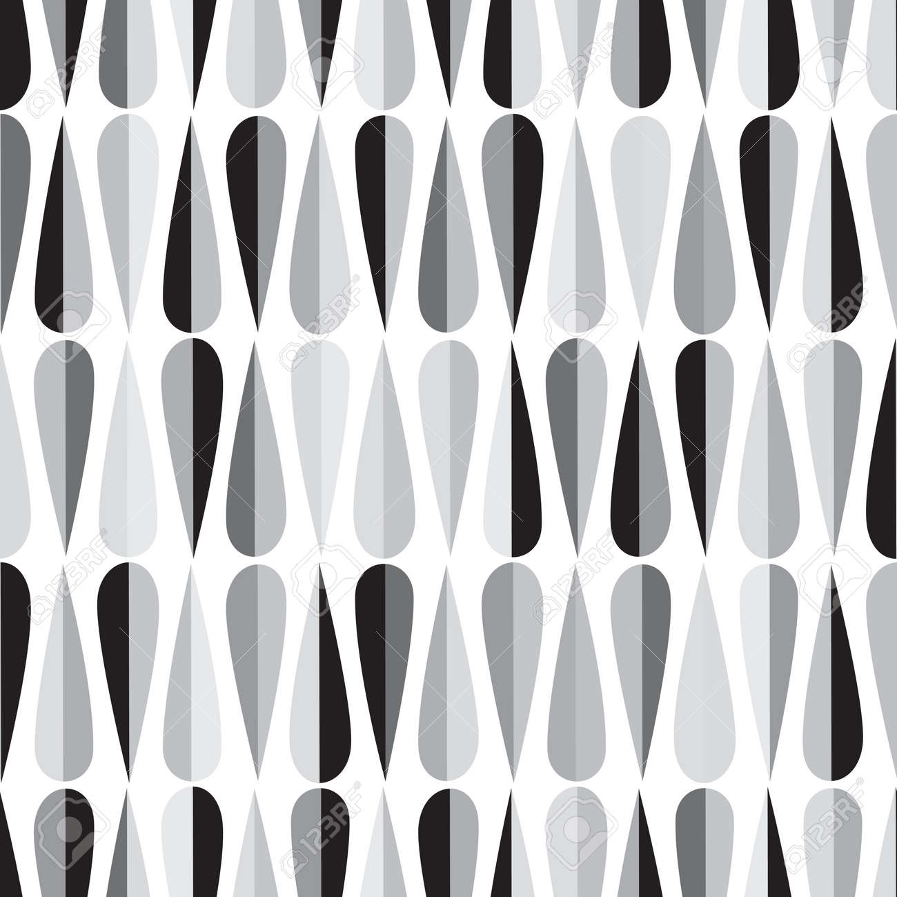 Mid Century Modern Style Retro Seamless Pattern With Drop Shapes In Shades Of Gray