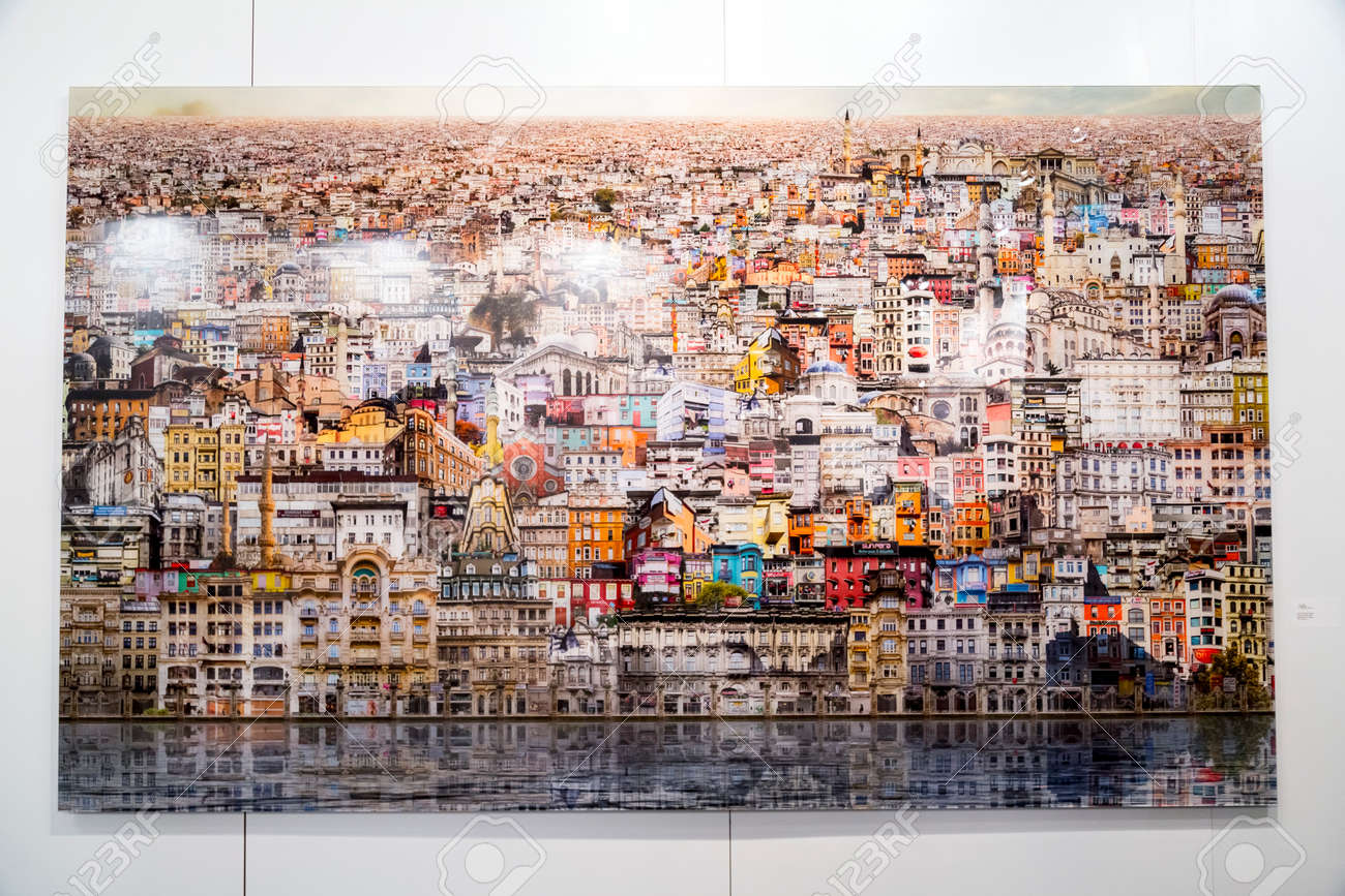 Istanbul, Turkey - November 13, 2015: Piece of art at the 10th edition of the annual Contemporary Istanbul artshow held in Lutfi Kirdar Convention Center, Istanbul on November 13. - 62565700