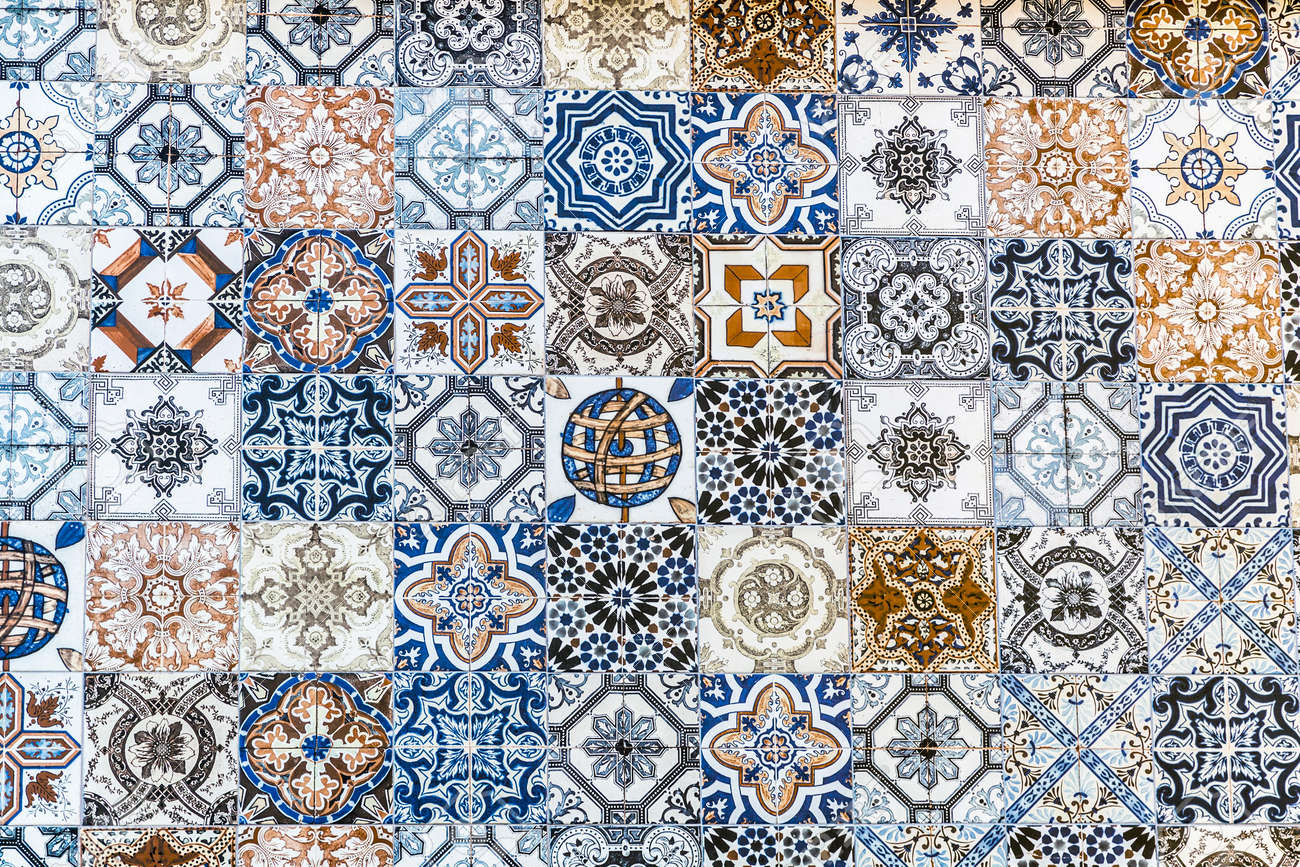 Collage Of Different Floor Tiles With Various Designs, Floor.. Stock ...