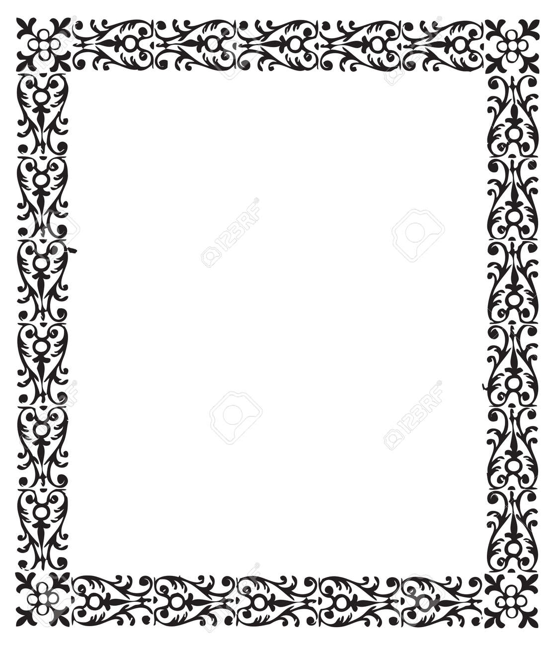 Vintage engraving frame with floral decorations - 52891680