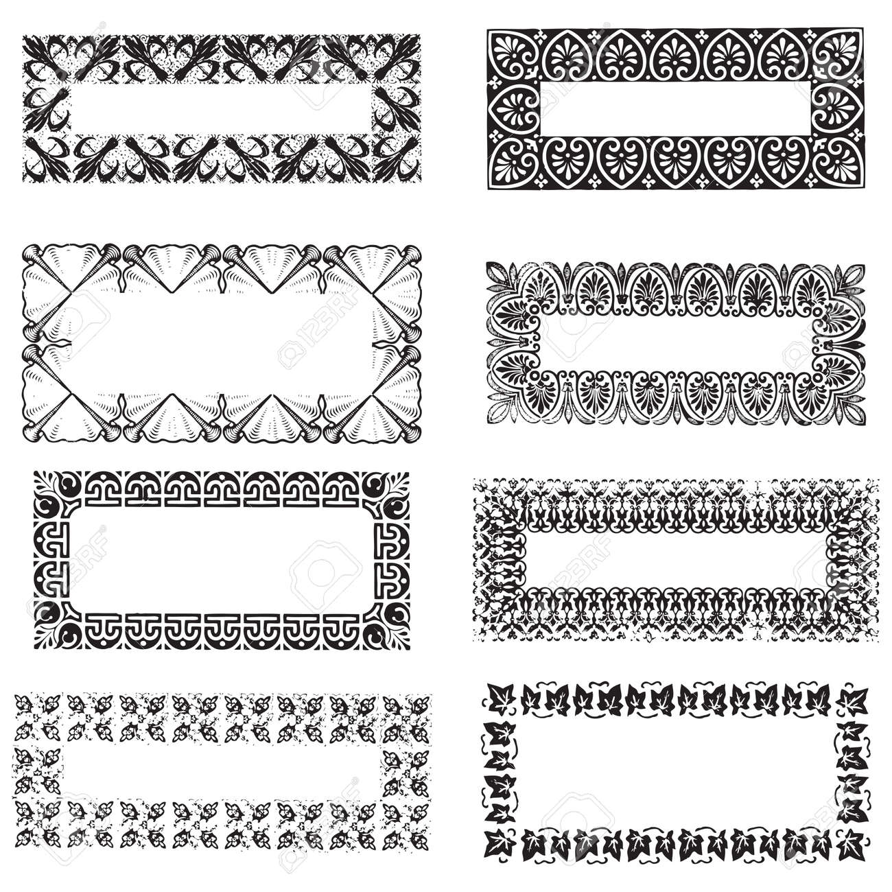 Collection Of Vintage Engraving Frames With Floral Decorations ...