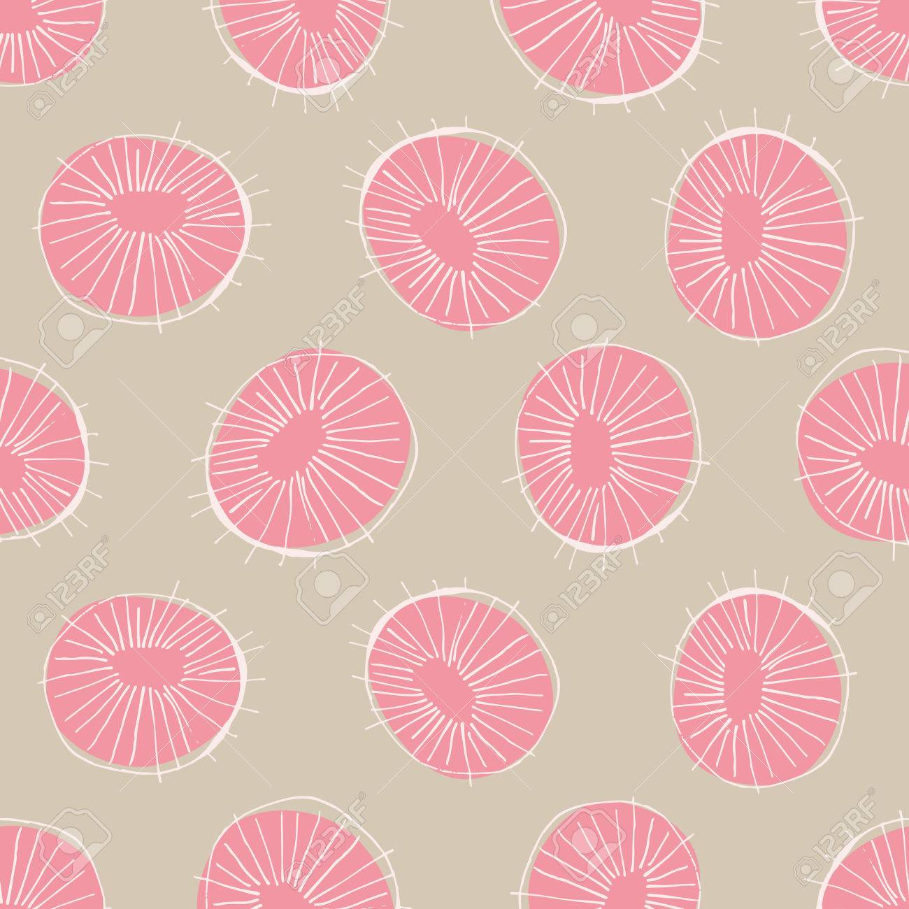 Seamless Vector Pattern With 50s Style Mid Century Modern Circle