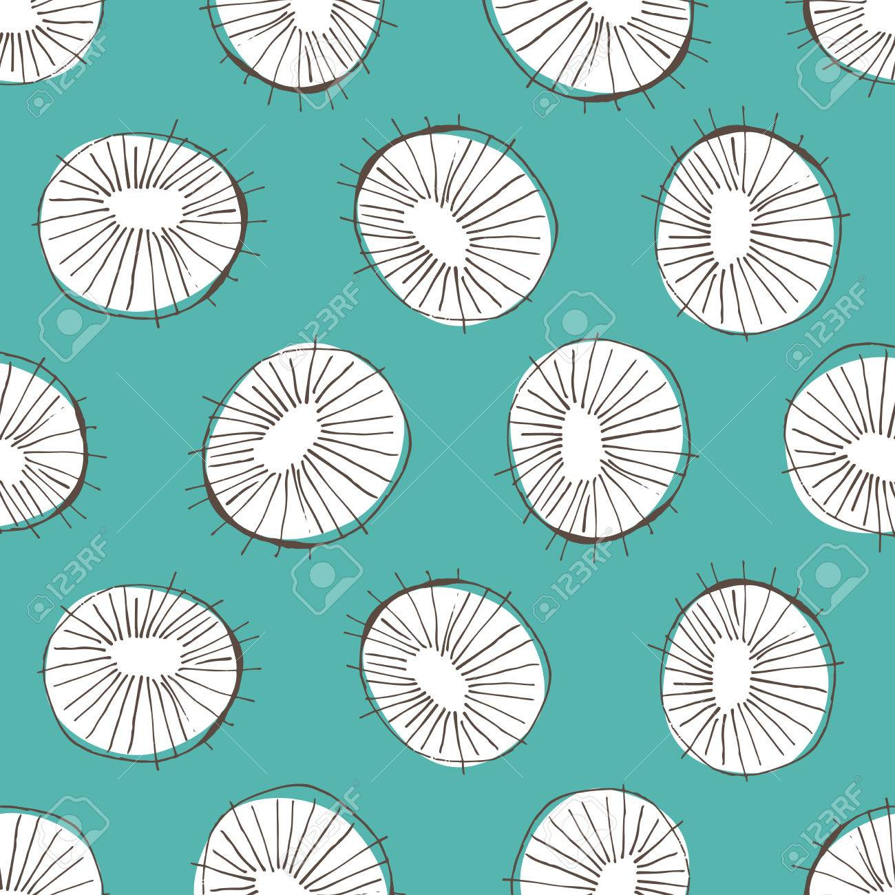 Seamless Vector Pattern With 50s Style Mid Century Modern Circle Drawings Repeating Background For