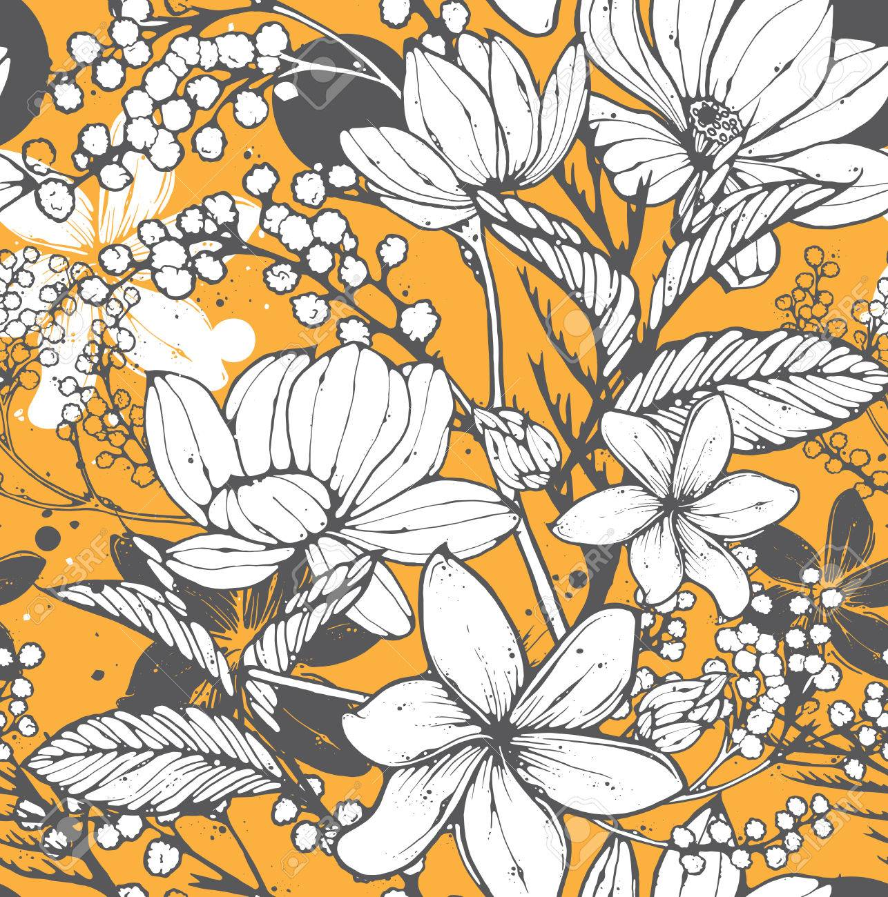Beautiful seamless pattern with hand drawn flowers, frangipani, mimosa and lotus. Elegant repeating surface pattern perfect for web and print purposes. - 53763105