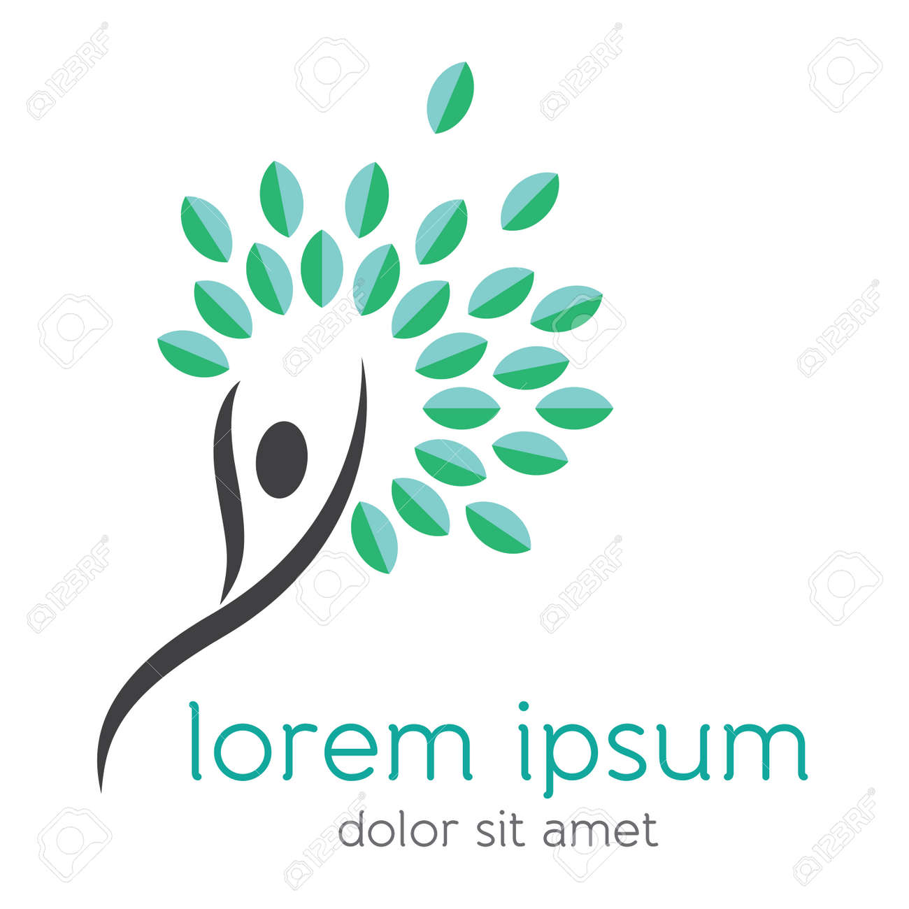 Abstract happy human body icon with flourishing fresh leaves, ecology, nature, environment and healthy lifestyle concept vector design element Stock Vector - 62996644